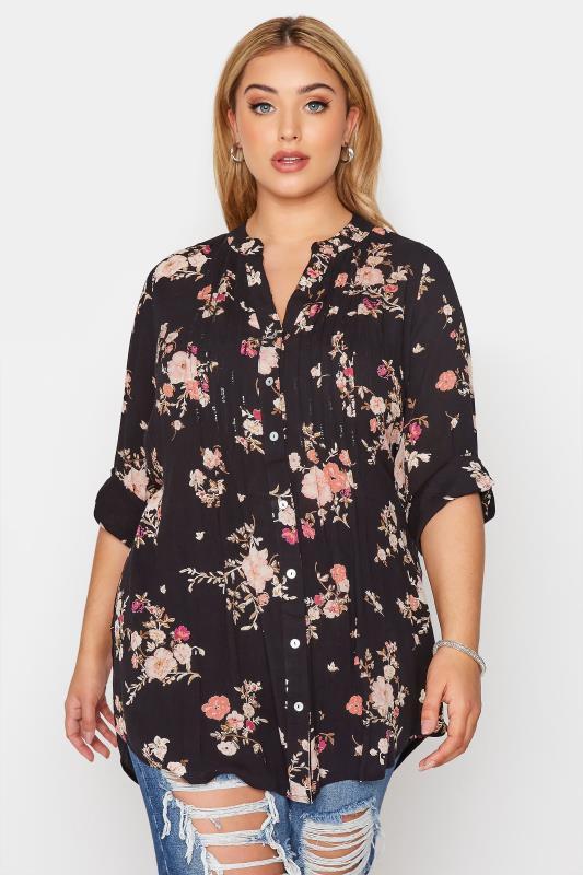 Großen Größen  Black Floral Pintuck Shirt