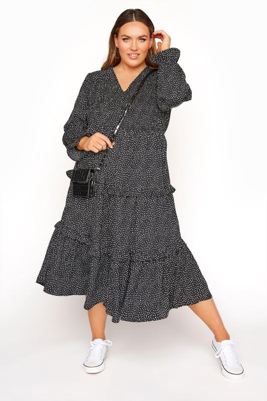 Plus Size  LIMITED COLLECTION Black Dalmatian Shirred Tiered Frill Midi Dress