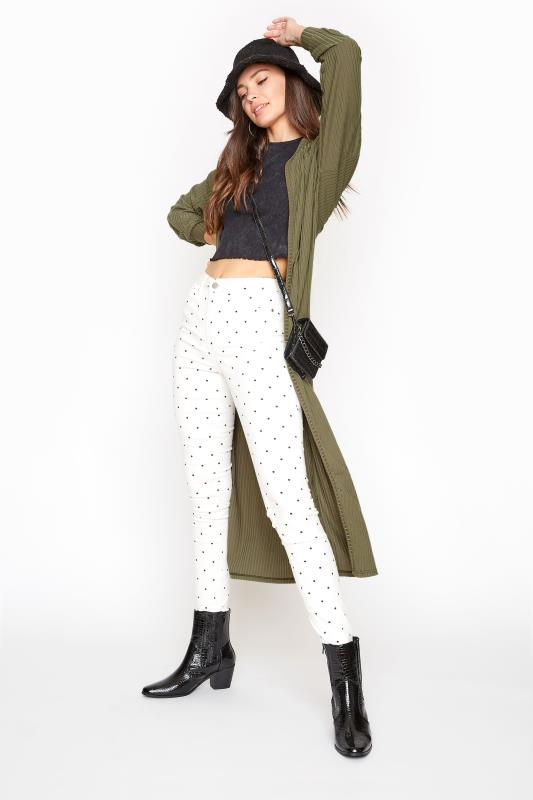 LTS Khaki Balloon Sleeve Brushed Midi Cardigan