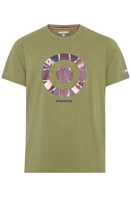 Plus Size  LAMBRETTA Khaki Printed Cotton T-Shirt