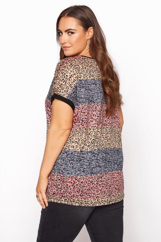 Pink Leopard Print Colour Block T-Shirt_C.jpg