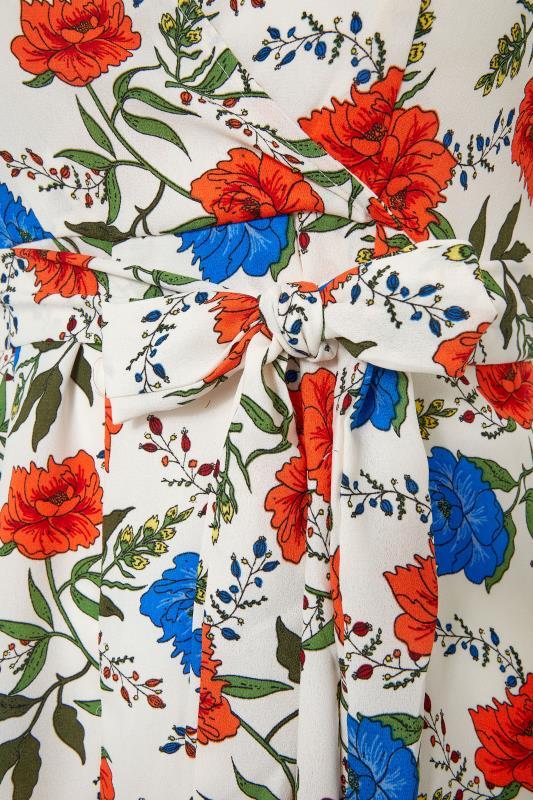 White Floral Short Shirred Sleeve Dress_S.jpg