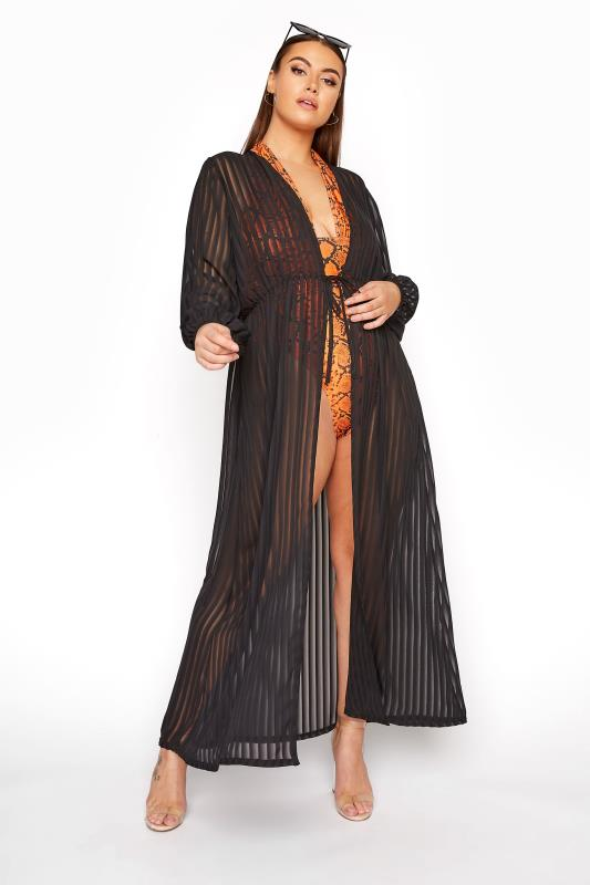 Plus Size  LIMITED COLLECTION Black Shadow Stripe Cover Up