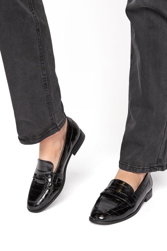 Tall  LTS Black Slip On Croc Loafer