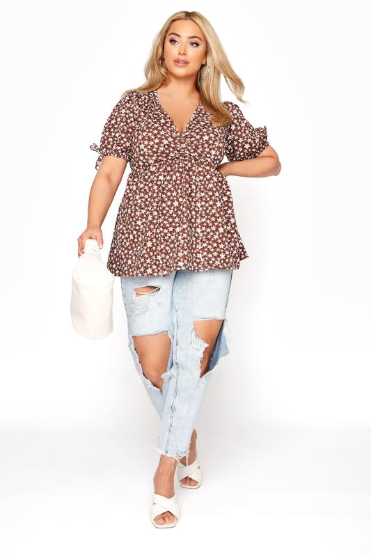 LIMITED COLLECTION Rust Floral Wrap Front Top_B.jpg