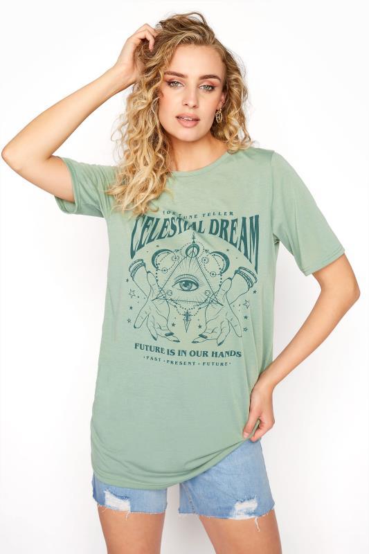 Tall  LTS Sage Green 'Celestial Dream' Slogan T-Shirt