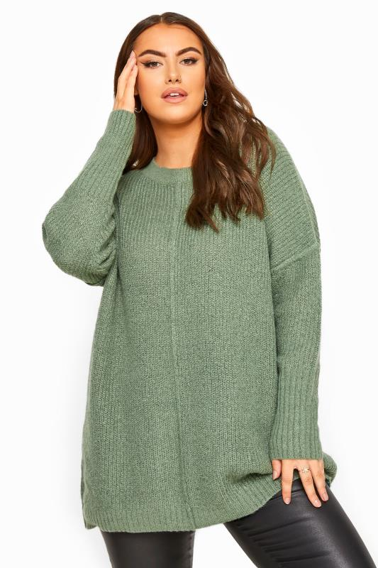 Plus Size Jumpers Sage Green Oversized Knitted Jumper