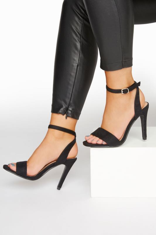 Yours LIMITED COLLECTION Black Strappy Two Part Heels In Extra Wide Fit