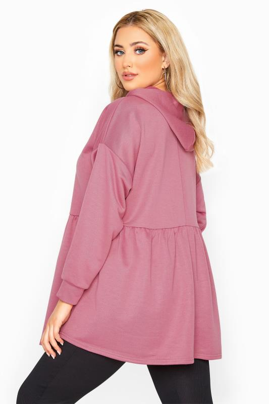 Plus Size  Dusky Pink Peplum Hoodie