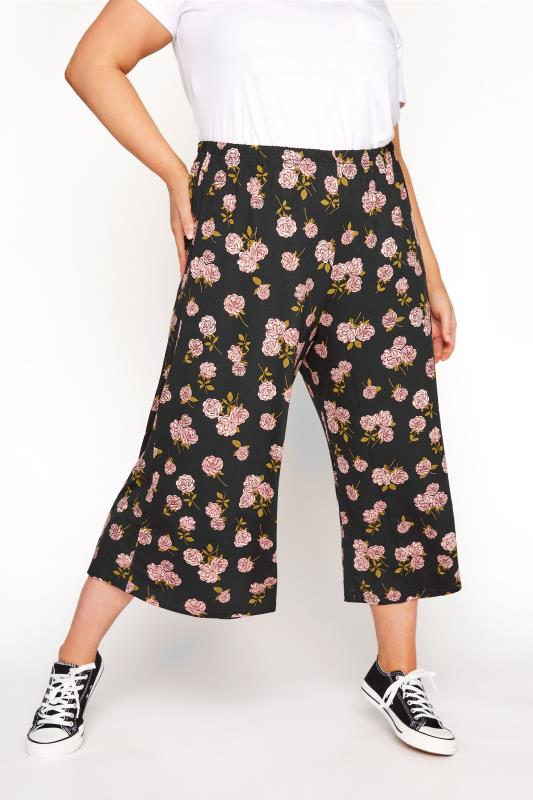 LIMITED COLLECTION Black & Pink Floral Print Culottes