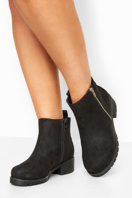 Wide Fit Ankle Boots Black Vegan Faux Suede Chunky Boots In Extra Wide Fit