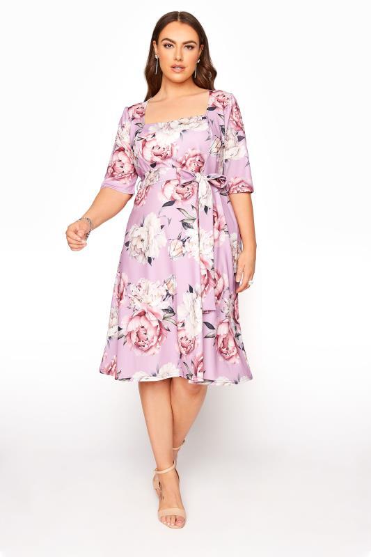 Plus Size  YOURS LONDON Lilac Floral Square Neck Dress