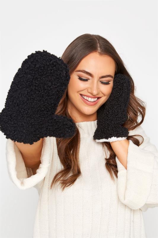 Tallas Grandes Black Shearling Teddy Gloves