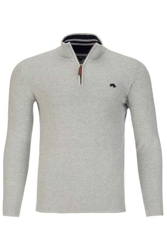 RAGING BULL Grey Ribbed Quarter Zip Sweatshirt_F.jpg