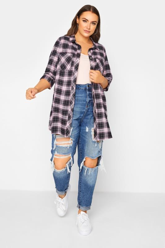 Black & Pink Check Cotton Boyfriend Shirt_B.jpg