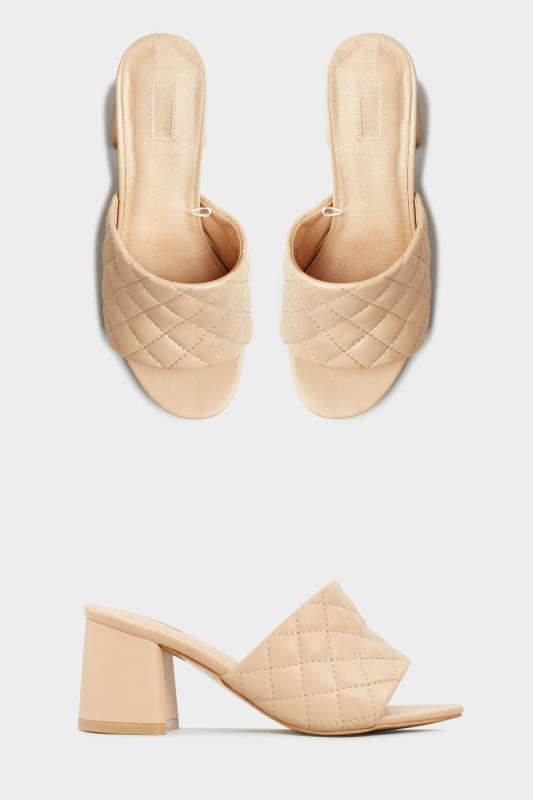 LIMITED COLLECTION Nude Quilted Heeled Mules In Extra Wide Fit