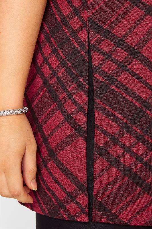 Wine Red Check Print Oversized Top_D.jpg