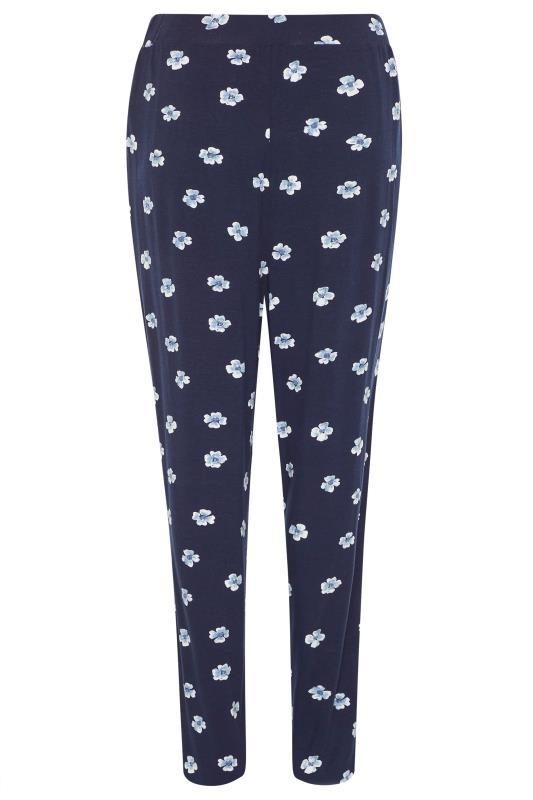 LTS Blue Floral Double Pleat Jersey Harem Trousers_bk.jpg
