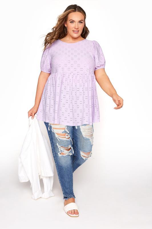 Lilac Broderie Anglaise Puff Sleeve Peplum Top