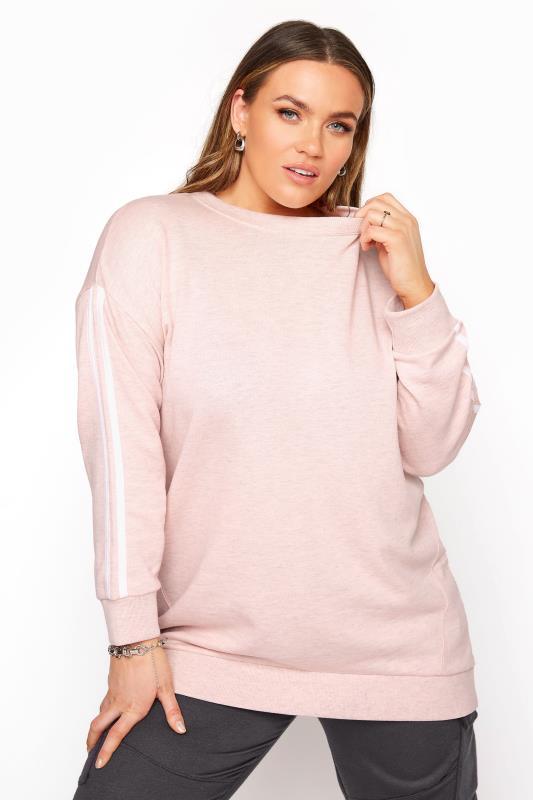 Plus Size  Pink Side Stripe Varsity Sweatshirt