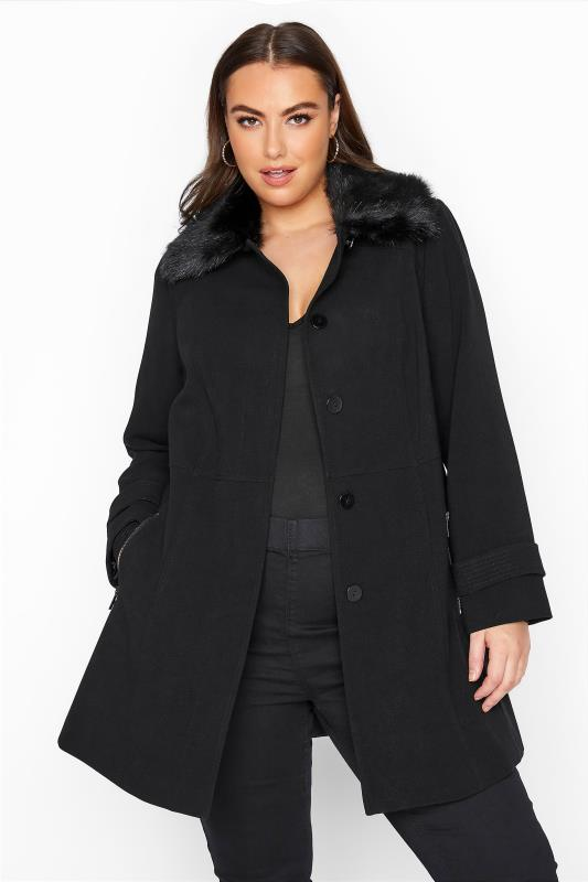 Plus Size  Black Faux Fur Collar Coat