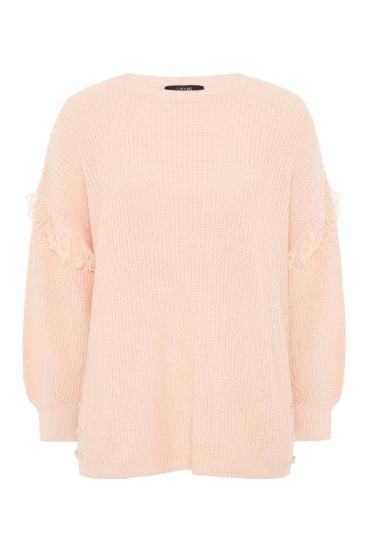 Plus Size  Pink Tassel Sleeve Chunky Knitted Jumper