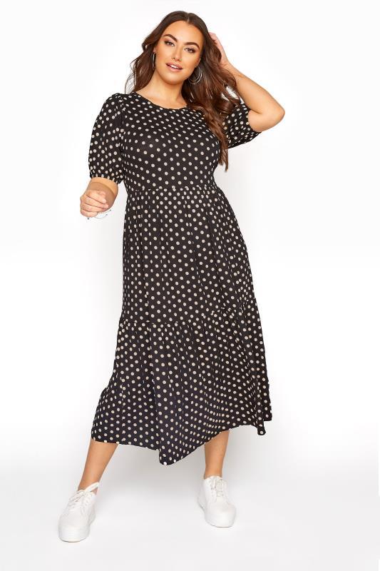 Black Puff Sleeve Polka Dot Midaxi Dress_A.jpg