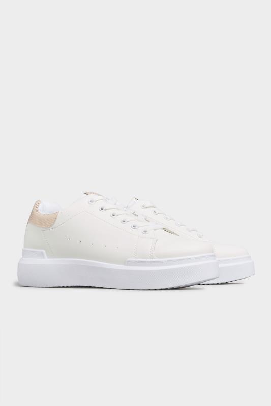 LIMITED COLLECTION White and Rose Gold Flatform Trainer In Wide Fit_C.jpg