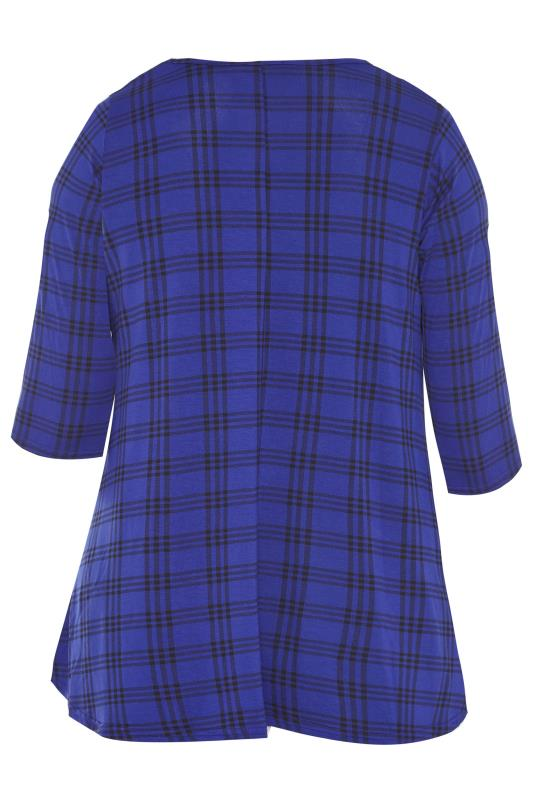 LIMITED COLLECTION Cobalt Blue Check Print Swing Top_BK.jpg
