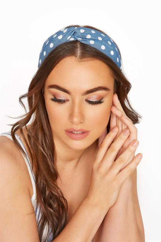 Plus Size  Blue Denim Polka Dot Twist Headband