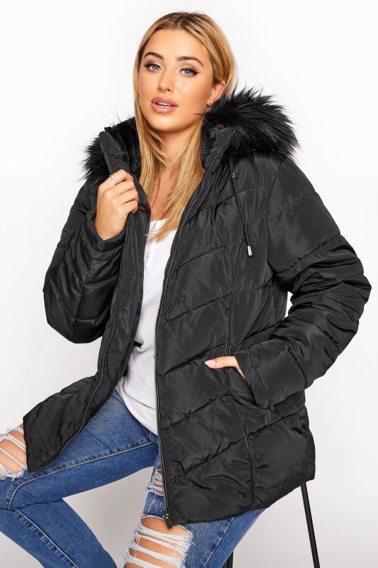 Plus Size  Black PU Faux Fur Trim Panelled Puffer Jacket