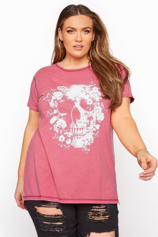 Pink Acid Wash Skull T-Shirt