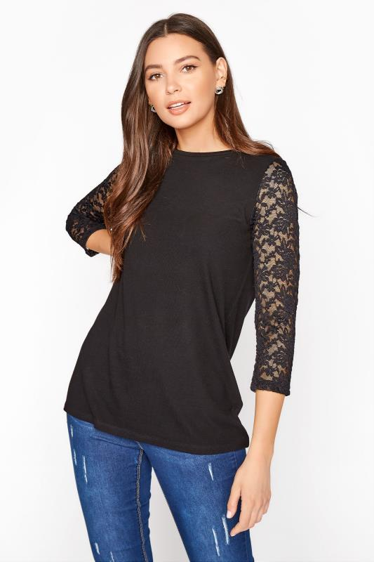 Tall  LTS Black Lace Sleeve Top