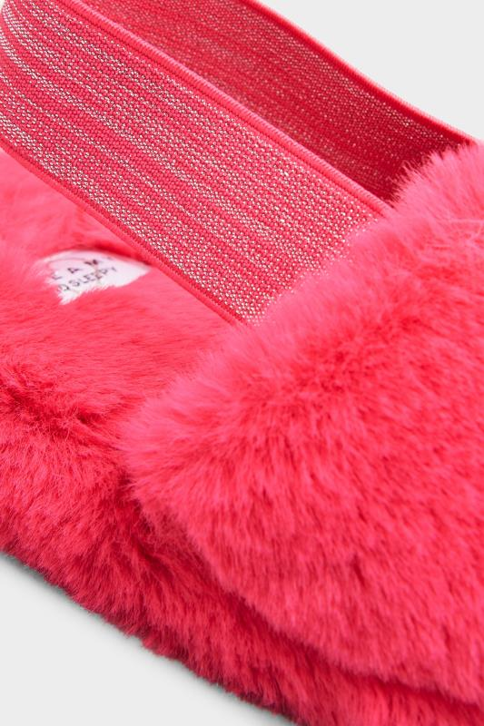 Pink Vegan Faux Fur Slingback Slippers In Regular Fit