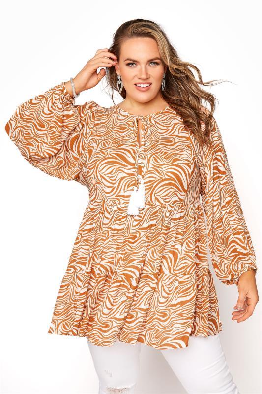 Plus Size  YOURS LONDON Orange Zebra Long Sleeve Blouse