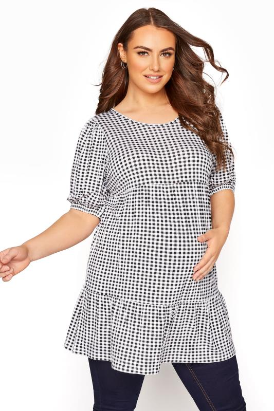 Plus Size  BUMP IT UP MATERNITY Black Gingham Tiered Smock Top