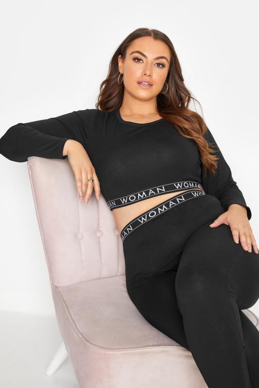Plus Size  Black Woman Lounge Top