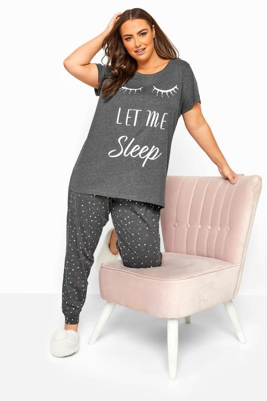 Grey Star & Heart Print Pyjama Bottoms