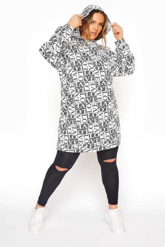 Plus Size  LIMITED COLLECTION Black 'Love' Longline Hoodie