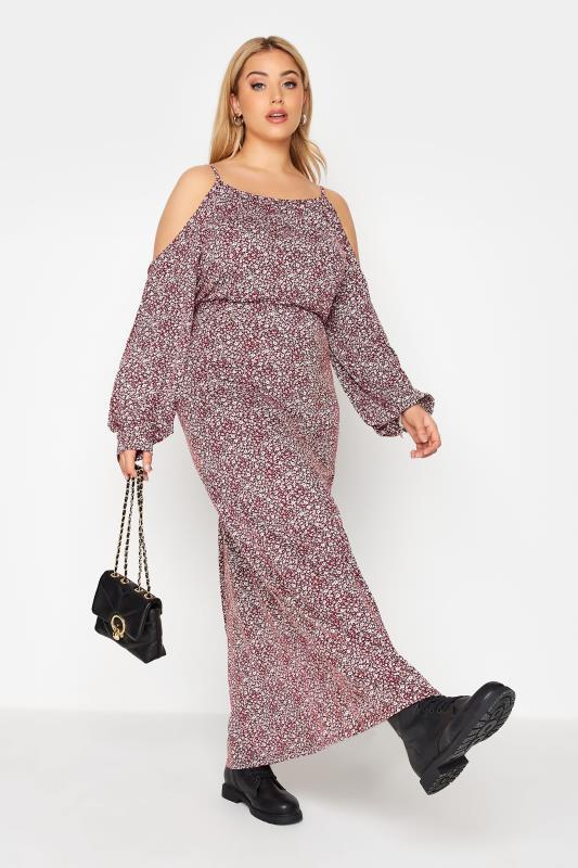 Plus Size  Red Floral Cold Shoulder Maxi Dress