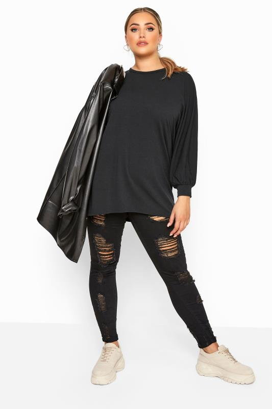 LIMITED COLLECTION Black Oversized Batwing Sleeve Sweatshirt