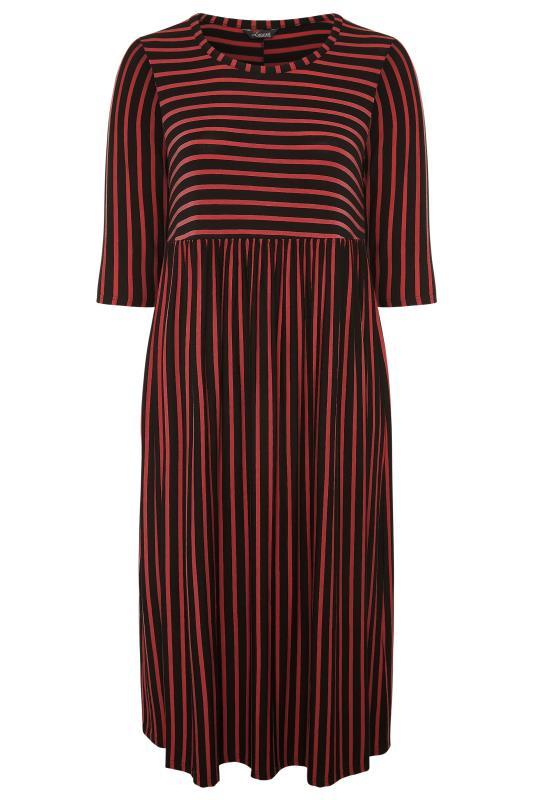 LIMITED COLLECTION Black & Rust Stripe Midaxi Dress_F.jpg