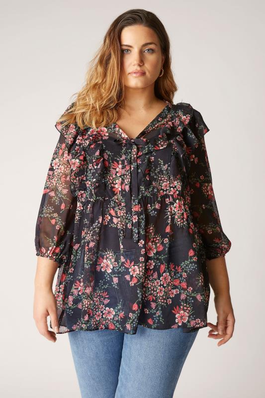 THE LIMITED EDIT Black Floral Frill Peplum Blouse_A.jpg