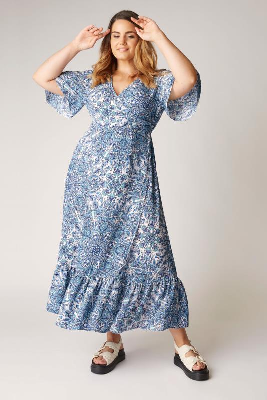 Plus Size  THE LIMITED EDIT Blue Paisley Ruffled Wrap Maxi Dress