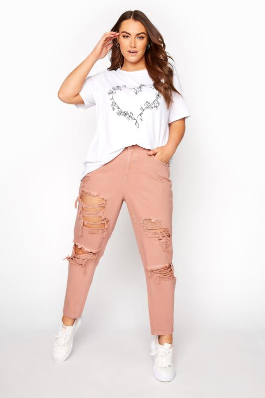 Plus Size  Blush Pink Extreme Distressed Mom Jeans