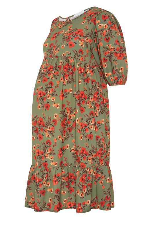 BUMP IT UP MATERNITY Green Floral Balloon Sleeve Midaxi Dress_F.jpg