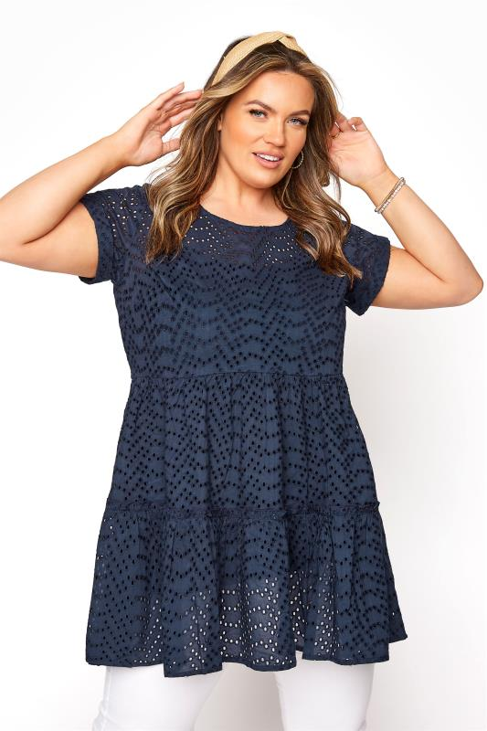 Plus Size  Navy Smock Tiered Tunic
