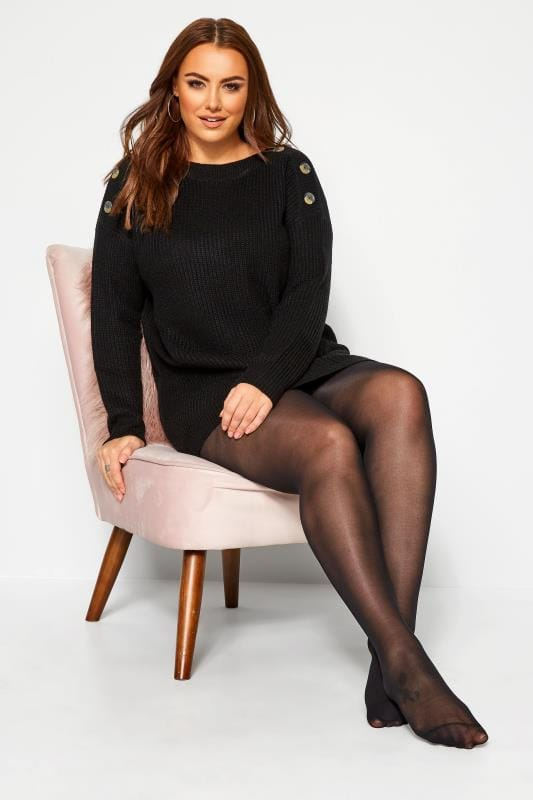 Plus Size Hosiery / Tights SUSTAINABLE Black 50 Denier Recycled Tights