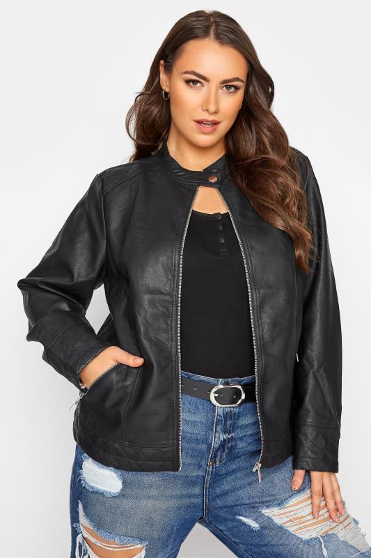 Großen Größen Jackets Black Faux Leather Collarless Jacket
