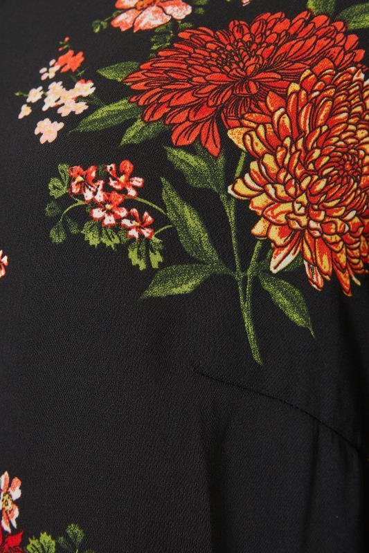 Black Oriental Floral Print V-Neck Shift Dress_S.jpg